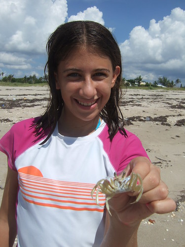 Rachel with a ghost crab