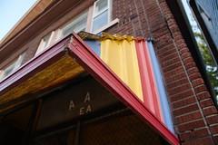 Day 311: Salada Tea awning (allankcrain) Tags: building brick yellow wall awning store urbandecay bricks brickwall storefront saladatea