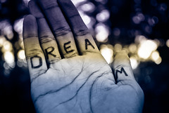 Dream. Dream. Dream. (tyreke.white) Tags: bw yellow nikon hand bokeh dream magenta sharpie d3000
