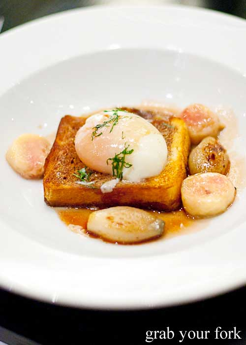 slow cooked hens egg