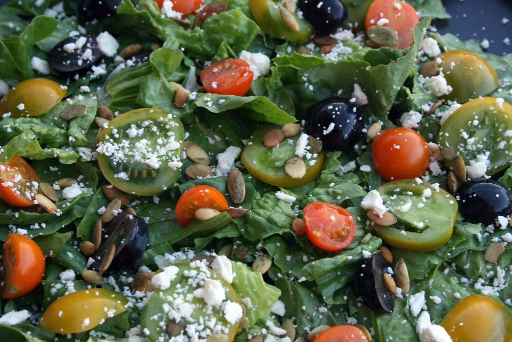 Heirloom, black grape, pumpkin seed and feta salad