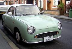 Emerald Green Nissan Figaro (johnnyg1955) Tags: green car nissan leeds retro vehicle 1991 figaro emerald emeraldgreen nissanfigaro worldcars alltypesoftransport cadsin h702lna