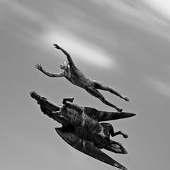 Pegasus tva (c e d e r) Tags: longexposure sky blackandwhite bw white black statue clouds skne movement europe foto sweden pegasus explore daytime malm milles ceder slottsparken ndfilter carlmilles staty explored nd110 pegasus2 flickriver aperture3 cederfoto 10stopgreyfilter daytimeexposure