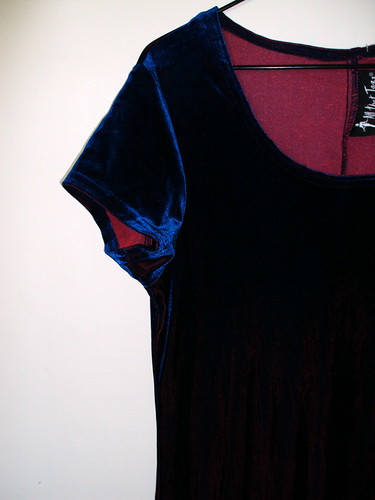Velvet Two Toned Dress Close Up