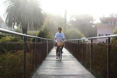 (Maddie Joyce) Tags: ocean california santa bridge bus beach bike bicycle fog vintage d50 50mm maddie nikon basket ride magic tshirt adventure barbara gordon barefoot joyce tropical spencer mesa wwwthemagicbuscollectivecom