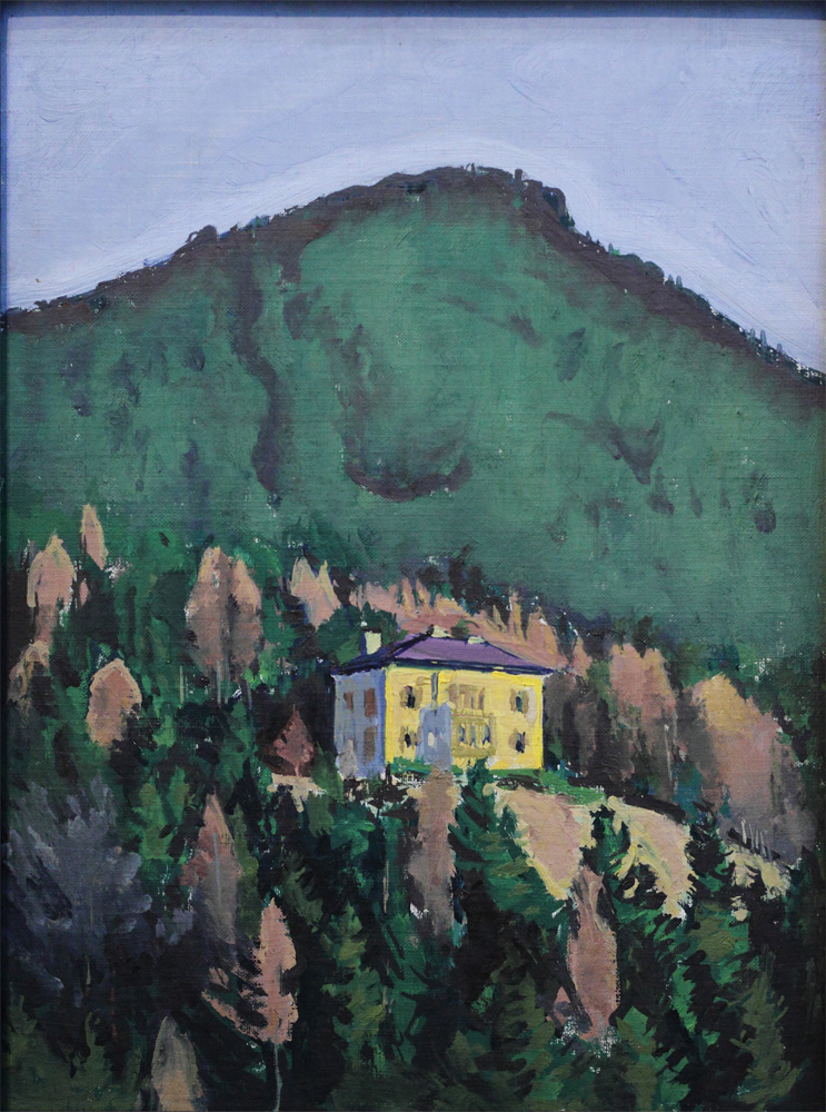 Koloman Moser, Gelbes Haus von Berg [Yellow House in Front of Mountain], c 1911
