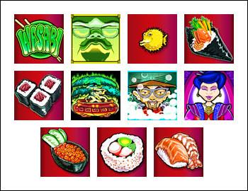 free Wasabi San slot game symbols