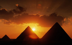 [Free Image] Architecture/Building, Archaeological Site, Sunset, Pyramid, Egypt, 201009180100