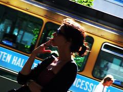 smokin' on Mannerheimintie (Gio Kru) Tags: girl backlight suomi finland helsinki cigarette profile smoking controluce mannerheimintie tramsilhouette