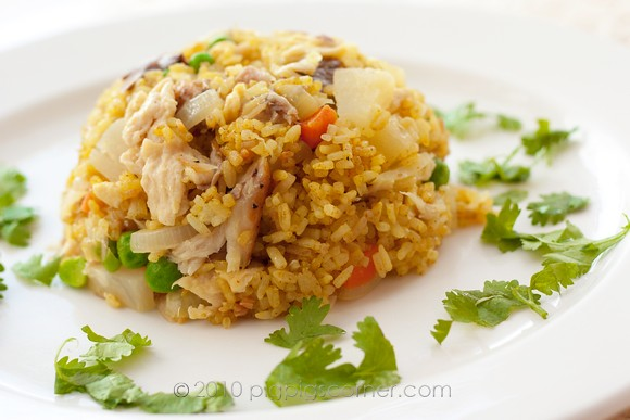 Pineapple fried rice with smoked mackerel