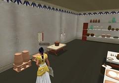 Meritaten examines bread ovens in the palace kitchen in virtual Amarna (Akhetaten) (mharrsch) Tags: kitchen ancient oven egypt 18thdynasty nefertiti akhenaten virtualworld meritaten amarna virtualenvironment mharrsch akhetaten heritagekey