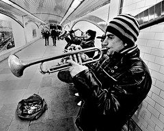 Double Brass [Tequila!] (Chris JL) Tags: uk blackandwhite bw music london photo drum candid band streetphotography trumpet jazz tunnel tequila double buskers brass saxophone iso1600 quartet blackfriarsbridge choral 5x4 spnp nikond90 tokina1116mmf28 chrisjl