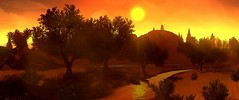 """""""Orange"""" (L1netty) Tags: camposanto river nature landscape sky trees scenery firewatch screenshot games panorama gaming reshade pc summer evening outdoor videogame 8k color orange pano sun srwe"""