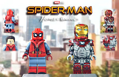 LEGO Spider-Man: Homecoming - Spider-Man (Homemade Costume) & Iron Man Mark 47 (MGF Customs/Reviews) Tags: lego spiderman homecoming iron man mark 47 the vulture tom holland robert downey jr michael keaton custom figure minifigure