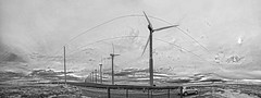 Turbine Dream (Jibby!) Tags: sky blackandwhite bw panorama sun windmill silhouette river washington energy wind cloudy dream surreal columbia valley handheld gorge backlit turbine alternative wallawalla turbines 180