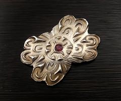 "garnet ""pin"" V (maianajewel) Tags: pin brooch magnet magnetic garnet artclaysilver finesilver"