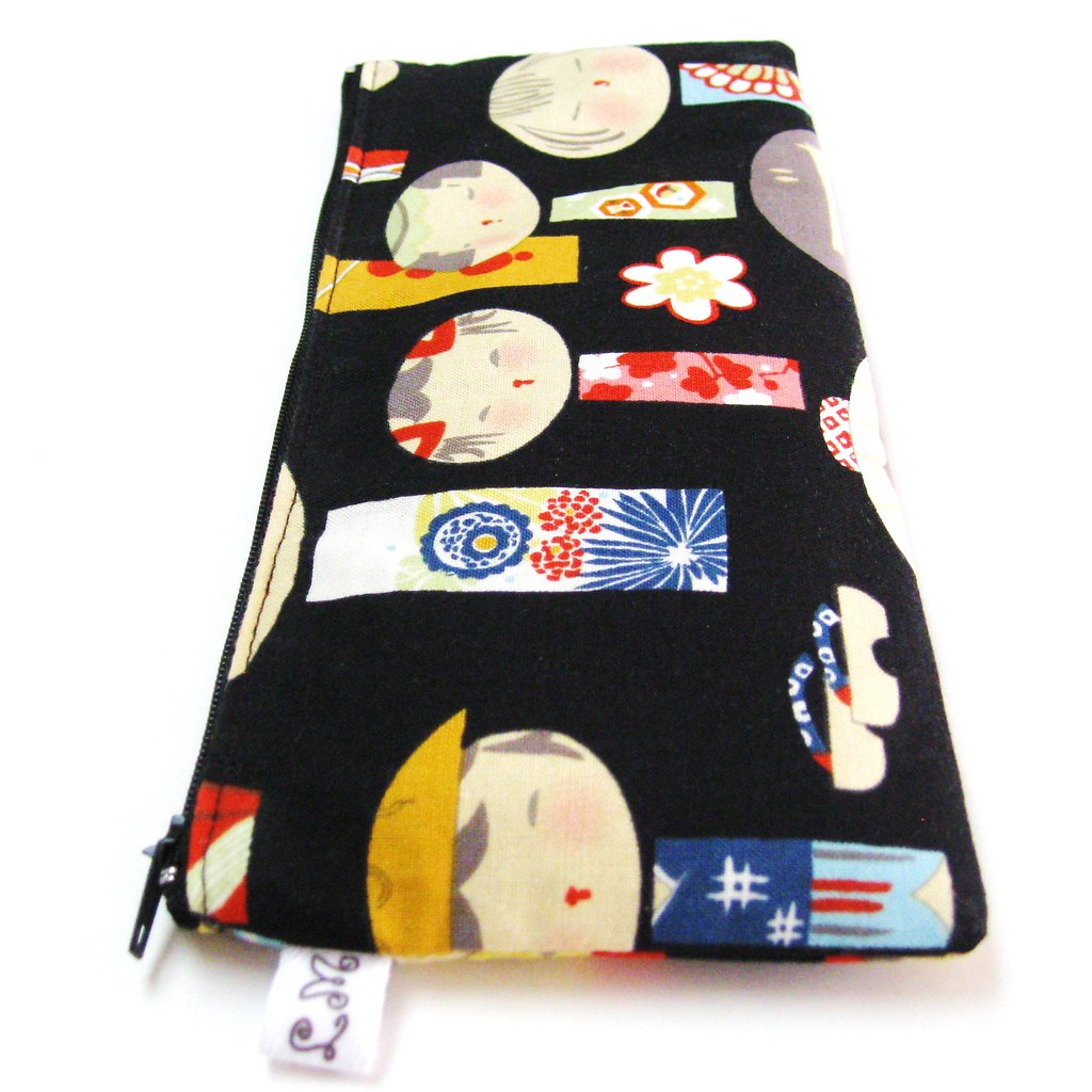 ZIPPER POUCH, PENCIL COSMETIC CASE Japanese Yui Kokeshi Dolls in Black