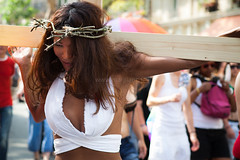The Passion, Paris (Marji Lang) Tags: paris france christ cross jesus cruz passion gaypride suffering gender croix calvary sexualidentity thepassion calvaire marchedesfierts ef2470mm monicaleon canon5dmii gaypride2010 26thjune2010