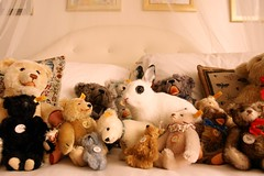 attack of the taxidermy (girl enchanted) Tags: bear rabbit bunny bed bedroom panda bears collection hide huck hiding steiff kaninchen huckleberry