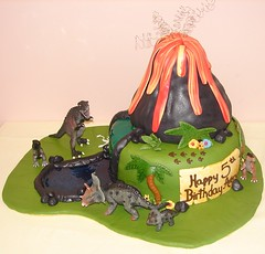 Dinosaur Birthday Cake on Dinosaur Birthday Cake With Volcano And River  Jmc Custom Cakes  Tags