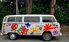 hippy car (gkual) Tags: flowers love car butterfly