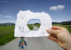 Pencil Vs Camera - 29 (Ben Heine) Tags: trees wallpaper cloud inspiration game window birds bike forest paper fun countryside sketch vanishingpoint scenery hand hole belgium path contemporaryart surrealism tricycle horizon main creative sharp adventur