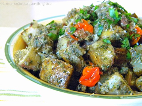 Roasted Red Potato and Tomato Salad with Pesto Sauce