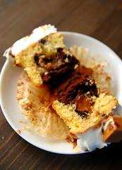 The inside of.. (Cik Kiah) Tags: cherry nikon sweet chocolate mini banana caramel cupcake treat split d300