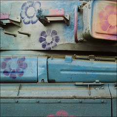 tank with grafitti - kyiv (chirgy) Tags: flowers blue metal lockers mediumformat grey stencil fuji grafitti tank purple ukraine step expired kiev kyiv rivet 160asa rodinamat nothe autaut salyuts vega12v90mm fotolavra