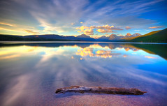 Lake McDonald, Glacier National Park (Ryan C Wright) Tags: sunset sky lake reflection glass clouds nationalpark highway montana wind wideangle glacier alpine glaciernationalpark wilderness stmarylake hdr alpenglow goingtothesun avalanchelake weepingwall lakemcdonald mcdonaldcreek ryanwright ryanwrightphotography httpryanwrightphotophotosheltercom