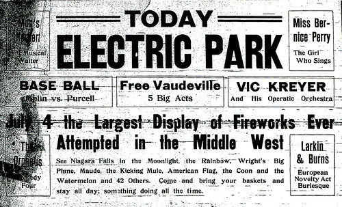 Electric Park Fourth of July ad from 1911.