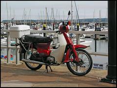 Honda at Torquay (tatraškoda) Tags: england honda cub harbour motorbike devon motorcycle torquay supercub c70 c50 c90 englishriviera 10millionphotos