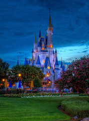 Magic Kingdom - Apocalypse Sky looms over Cinderella Castle (Cory Disbrow) Tags: travel castle hub photoshop canon orlando twilight mainstreet lab florida magic icon disney rainstorm nik fl wdw waltdisneyworld canonef2470mmf28lusm hdr highdynamicrange magickingdom weenie 2010 waltdisney cs4 lakebuenavista cinderellacastle baylake reedycreek sevenseaslagoon canoneos5dmarkii june2010 worlddrive vacationkingdomoftheworld corydisbrow wdwphotography