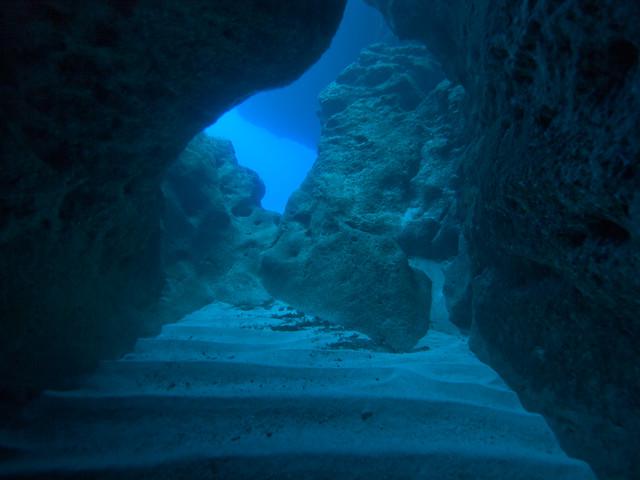 南大東島の洞窟にて