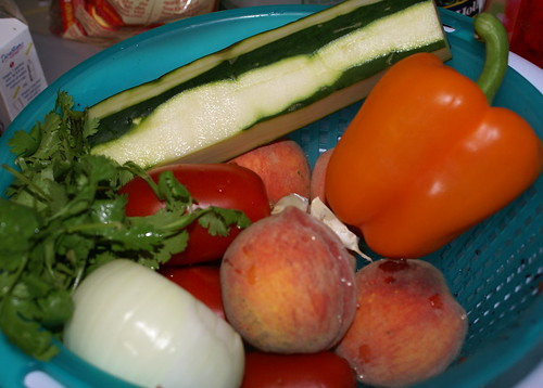 peach, tomato, cucumber, onion, bell pepper, garlic, jalapeno, cilantro