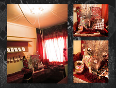 My room: Xmas/bday 2008 (Art Fountain) Tags: xmas red room gifts presents postcards curtains dressed