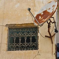 Old Window and Satellite Dish! (Mike Prince) Tags: flickr religion morocco fez judaism satellitedish doorsandwindows jewishquarter telecommunications artandarchitecture mellah scienceandtechnology architectureandbuildings fèseljdid cultureandcommunities