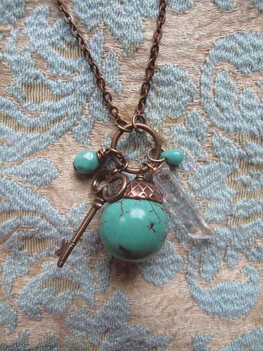 Turquoise, crystal, key