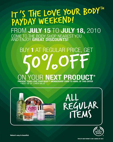 The Body Shop Love Your Body Payday Weekend Sale - July 2010