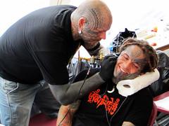 Matt Black tattooing Joe Munroe (Needles and Sins (formerly Needled)) Tags: ireland tattoo cobh facialtattoo traditionaltattooworldculturefestival