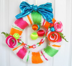 Neon Yarn Wreath (KnockKnocking) Tags: christmas holiday flower wool rose glitter paper fun neon different cheery unique decoration funky felt garland chain ornament bow lame etsy vibe knockknocking