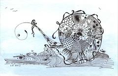 Time to Ponder (Lori B2010) Tags: art pen doodle zentangle peacetangle