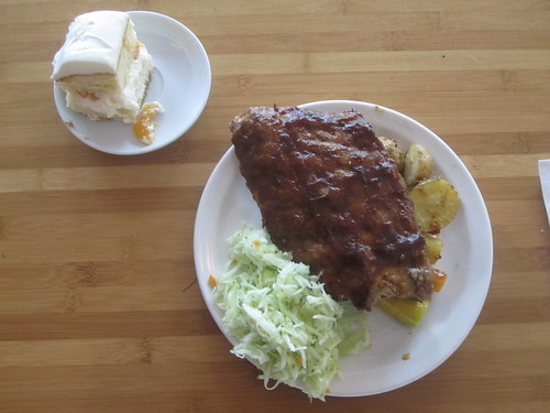 ribs, coleslaw, veggies, cake from the bistro - $6