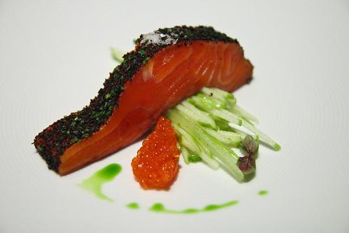 Confit Petuna Ocean Trout with Konbu, Celery & Apple