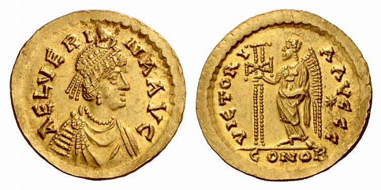 A Rare Roman Gold Solidus of Aelia Verina, Wife of Leo I (457-474 C.E.)