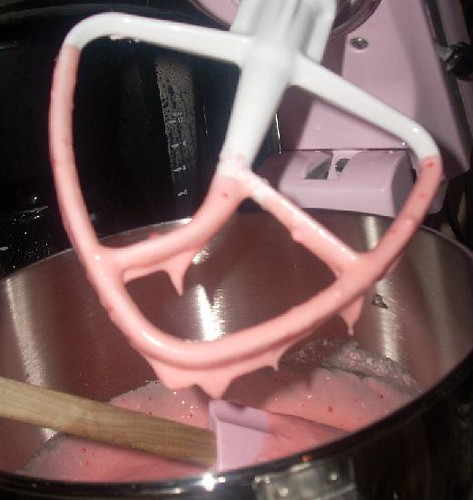 Pink mixer, pink batter, pink spatula