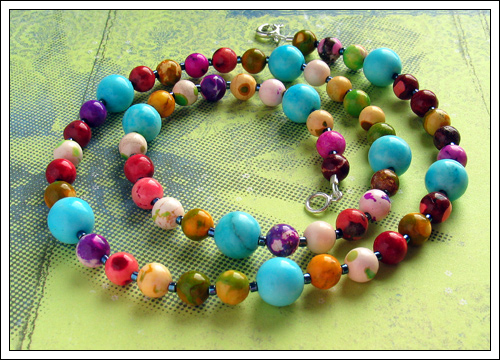 Dyed turquoise necklace