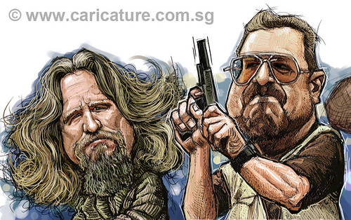 digital caricatures of The Big Lebowski - 2 small
