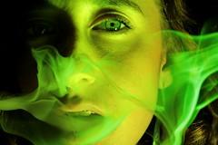 Wonderland (María Granados) Tags: verde green luz lights luces eyes smoke ojos mirada humo