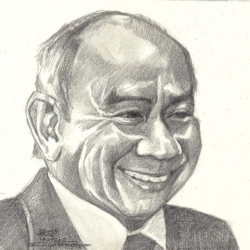 Pencil portrait of Singapore Goh Keng Swee